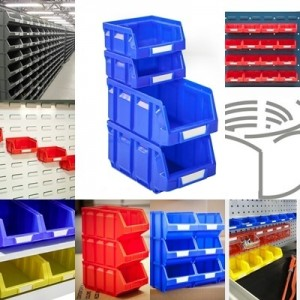 Open plastic bins